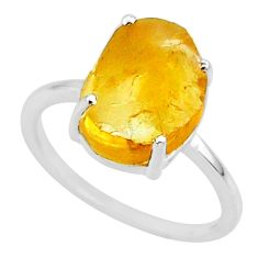4.93cts yellow raw citrine rough 925 sterling silver ring jewelry size 7 r88896