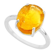 5.15cts yellow raw citrine rough 925 sterling silver ring jewelry size 7 r88897