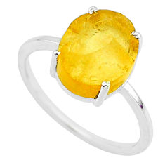 4.83cts yellow raw citrine rough 925 sterling silver ring jewelry size 9 r88882