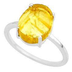 4.85cts yellow raw citrine rough 925 sterling silver ring jewelry size 9 r88890