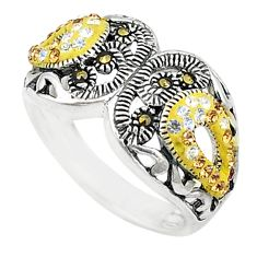 Yellow topaz quartz marcasite 925 sterling silver ring size 5.5 c16369