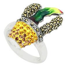 Yellow topaz quartz marcasite enamel 925 silver ring size 7.5 c16316