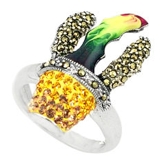 Yellow topaz quartz marcasite enamel 925 silver ring size 7.5 c16315
