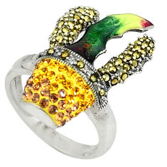 Yellow topaz quartz marcasite enamel 925 silver ring jewelry size 7.5 c16306