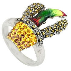 Yellow topaz quartz marcasite enamel 925 silver ring jewelry size 8 c16319