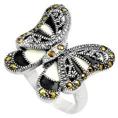 6.59gms marcasite enamel 925 sterling silver butterfly ring jewelry size 7 c4080