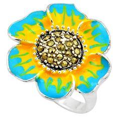 12.02gms marcasite enamel 925 sterling silver flower ring jewelry size 7.5 c4087