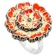 11.26gms marcasite enamel 925 sterling silver flower ring jewelry size 8 c4096