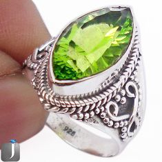 6.59cts MARQUISE GREEN PARROT QUARTZ 925 SILVER RING JEWELRY SIZE 8 F63532