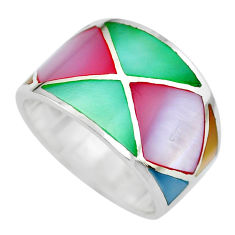 4.89gms multi color blister pearl enamel 925 sterling silver ring size 6 c2526