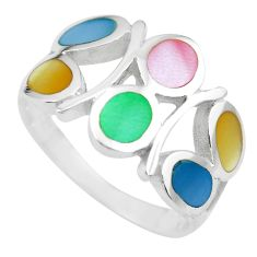 3.69gms multi color blister pearl enamel 925 sterling silver ring size 6 c2533