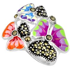 Multi color enamel marcasite 925 sterling silver butterfly ring size 6.5 h52293
