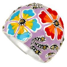 Multi color enamel marcasite 925 sterling silver flower ring size 7 h52307