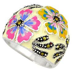 Multi color enamel marcasite 925 sterling silver flower ring size 8.5 h52319