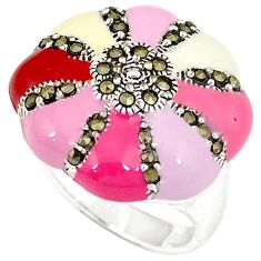 Multi color enamel marcasite 925 sterling silver ring jewelry size 6 h52345