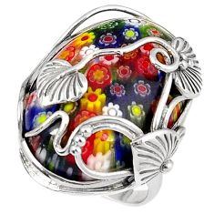 Multi color italian murano glass 925 silver leaf design ring size 9 h54993