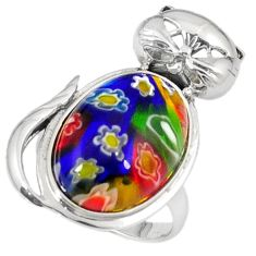 Multi color italian murano glass 925 sterling silver cat ring size 7.5 h54998