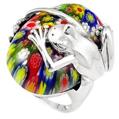 Multi color italian murano glass 925 sterling silver frog ring size 8 h54986