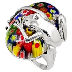 Multi color italian murano glass 925 sterling silver frog ring size 8 h54988