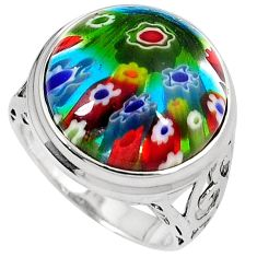Multi color italian murano glass 925 sterling silver ring size 7.5 h54981