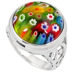Multi color italian murano glass 925 sterling silver ring jewelry size 7 h54983
