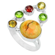 6.85cts multi color opal peridot 925 sterling silver ring size 6.5 d32227