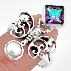 4.12cts multi color rainbow topaz 925 silver butterfly ring size 9.5 p42901