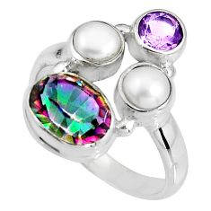 7.33cts multi color rainbow topaz amethyst pearl 925 silver ring size 8.5 p90661