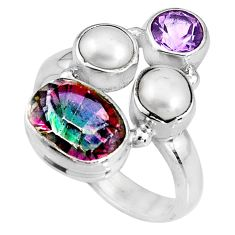 6.02cts multi color rainbow topaz amethyst pearl 925 silver ring size 6.5 p90680