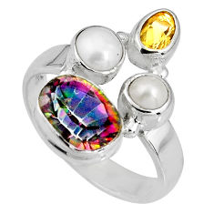 6.53cts multi color rainbow topaz citrine pearl 925 silver ring size 8.5 p90665