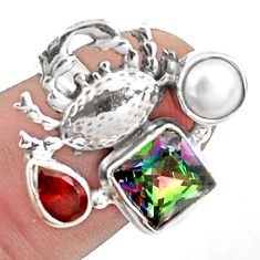 5.42cts multi color rainbow topaz garnet 925 silver crab ring size 8 p42902
