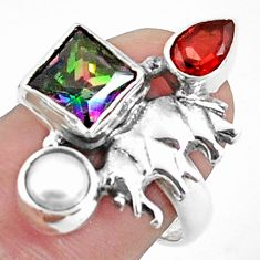 5.52cts multi color rainbow topaz garnet 925 silver elephant ring size 7 p42903