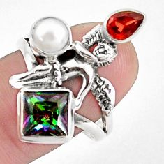 5.75cts multicolor rainbow topaz 925 silver angel wings fairy ring size 9 p42910
