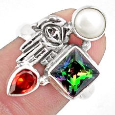 5.82cts multicolor rainbow topaz 925 silver hand of god hamsa ring size 7 p42908