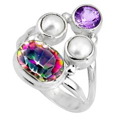 6.53cts multicolor rainbow topaz amethyst 925 sterling silver ring size 6 p90663