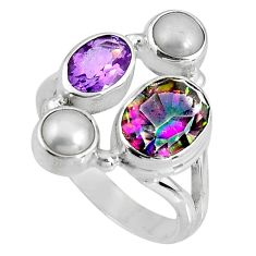 6.84cts multicolor rainbow topaz amethyst 925 sterling silver ring size 7 p90666