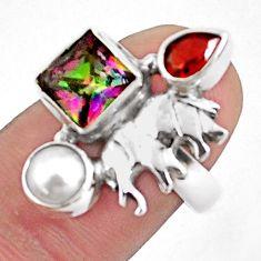 5.52cts multicolor rainbow topaz garnet 925 silver elephant ring size 6.5 p42906