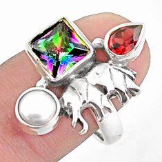 5.75cts multicolor rainbow topaz garnet 925 silver elephant ring size 8.5 p42916