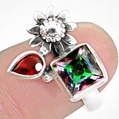 5.07cts multicolor rainbow topaz garnet 925 silver flower ring size 6.5 p42912