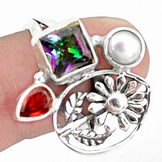 5.35cts multicolor rainbow topaz garnet 925 silver flower ring size 9 p42913