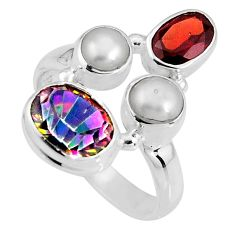 6.30cts multicolor rainbow topaz garnet 925 sterling silver ring size 7.5 p90662
