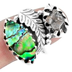 Natural abalone paua seashell campo del cielo 925 silver ring size 9 p42285