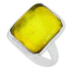 11.66cts natural amber from colombia 925 silver solitaire ring size 8 p68396