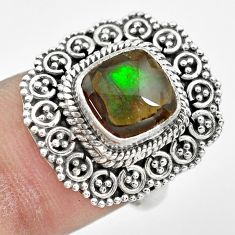 3.70cts natural ammolite (canadian) 925 silver solitaire ring size 6.5 p61542