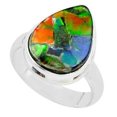 10.41cts natural ammolite (canadian) 925 silver solitaire ring size 7.5 p68314