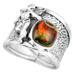 Natural ammolite 925 silver angel wings fairy solitaire ring size 6.5 d32279