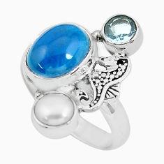 5.95cts natural apatite (madagascar) 925 silver seahorse ring size 7.5 p61041