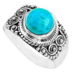 3.67cts natural apatite (madagascar) 925 silver solitaire ring size 8.5 p71618