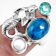 6.54cts natural apatite (madagascar) silver fairy mermaid ring size 7 p42718