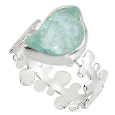 5.06cts natural aqua aquamarine rough 925 silver solitaire ring size 8 p90198